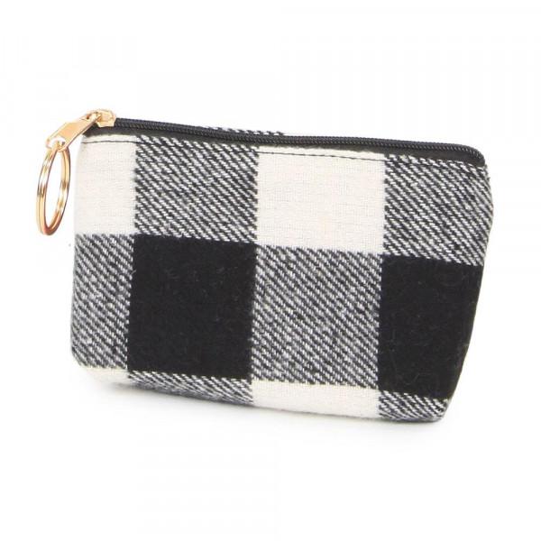 "Buffalo Check coin purse. 100% acrylic and 5""W x 3""L"