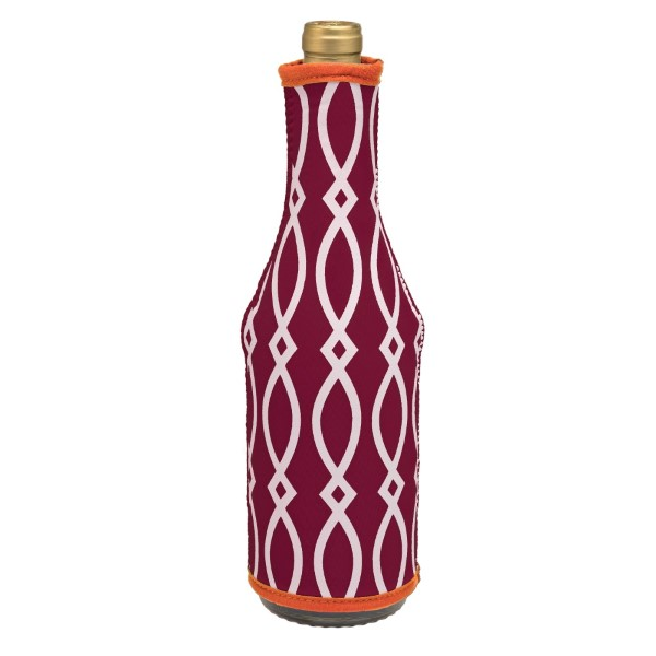 Insulated, neoprene, wine coozie with a maroon and orange print. Perfect for monogramming and is machine washable.