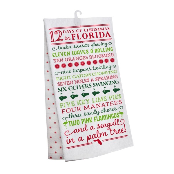 wholesale days christmas florida tea towel open cotton all artwork lyrics copyr - 12 Days Of Christmas Lyrics