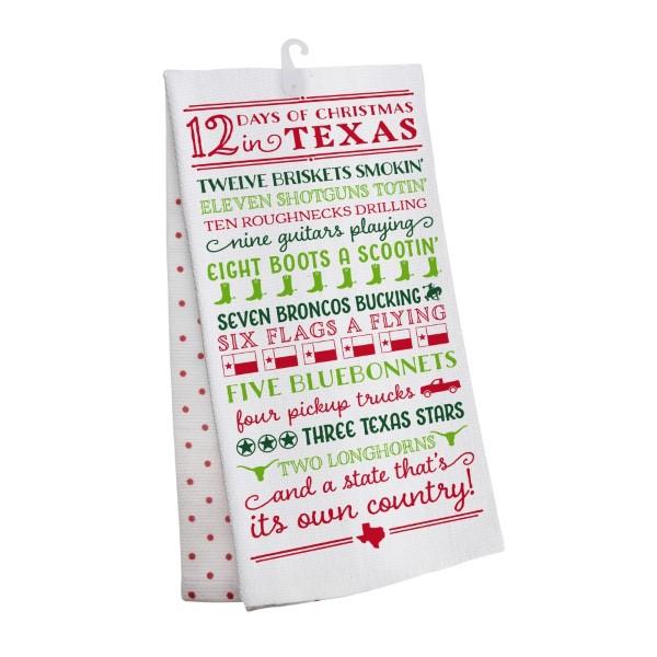 wholesale days christmas texas tea towel open cotton all artwork lyrics copyrig - 12 Days Christmas Lyrics