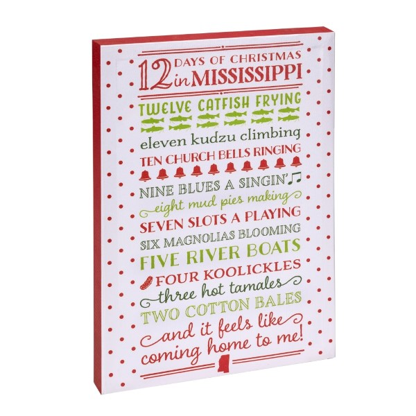 12 days of christmas in mississippi canvas wall art featuring wholesale days christmas mississippi canvas wall art licensed copyrighted lyric stopboris Gallery