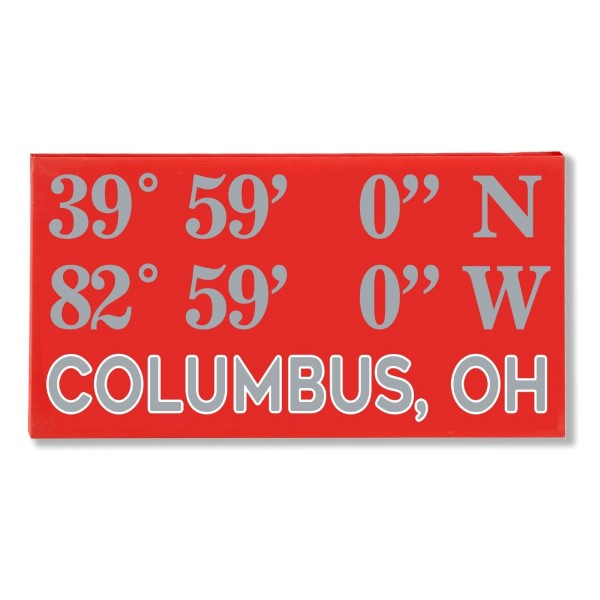 "Canvas wall art with the coordinates of Columbus, OH in your team colors to show your school pride. Canvas measures 10"" x 1.5"" x 19."""