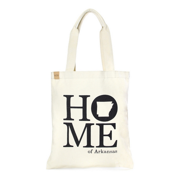 """Canvas tote bag with an inside pocket and """"Home of Arkansas"""" on the front. 100% cotton. Measures approximately 17"""" x 14"""" in size with an 11"""" handle drop."""