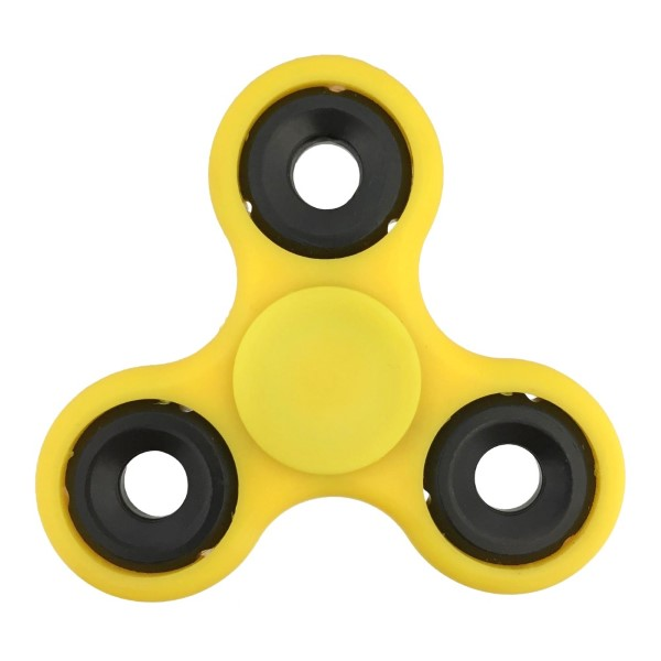 Yellow fidget spinner. Allows you to spin stress away, and can even help some people focus! Ceramic ball bearings allow for long spin times.