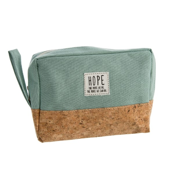 """Cork and canvas zipper bag with a """"Hope - the more we do, the more we can do"""" patch. Measures 8"""" x 5.5"""" in size."""