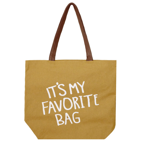 Wholesale canvas tote bag It s my bag printed front flat bottom faux leather  han d51689329