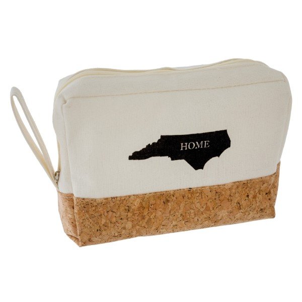 """Canvas and cork, zipper pouch with your """"Home"""" state. Measures 8"""" x 5.5"""" in size."""