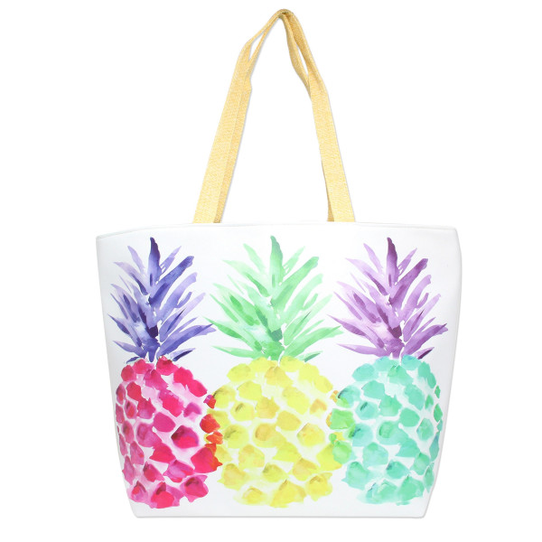 "Pineapple beach tote bag.   - Lined inside with pockets - Zipper closure - Approximately 20"" W x 14"" T - 50% PU, 50% Linen"