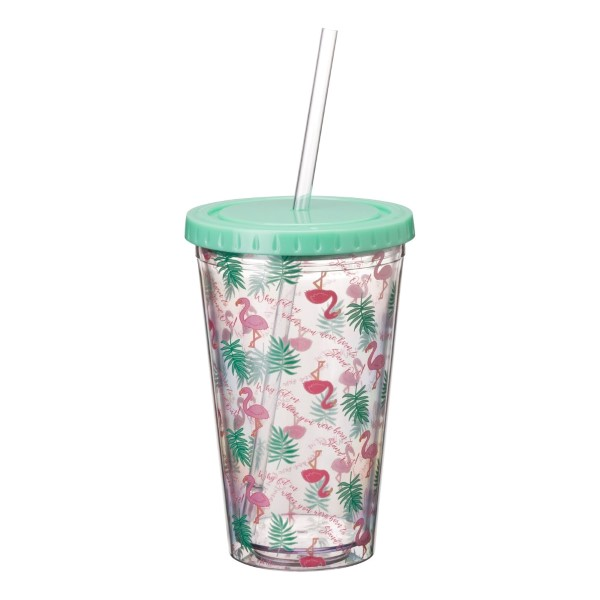 Sip back and relax! Enjoy your favorite drink from this 16oz Acrylic Sipper Cup all summer long. The sipper cup will have you pouring seconds and thirds! Providing quality and a fun pattern of flamingoes and palm trees, this cup is both BPA free and has double-walled insulation.  • Capacity: 16oz • Includes Acrylic Straw • BPA Free • Double-Walled Insulation • Hand Wash Recommended