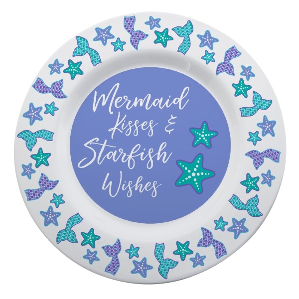 "Share the love of summer with this uniquely designed Mermaid Tails and Starfish Melamine Platter! This beachy inspired design with the saying ""Mermaid Kisses & Starfish Wishes"" makes a perfect summer gift for a friend or keep it for yourself and enjoy the beach using your own summer party plate-wear!  • 14"" Diameter • Dishwasher Safe • Microwave Safe"
