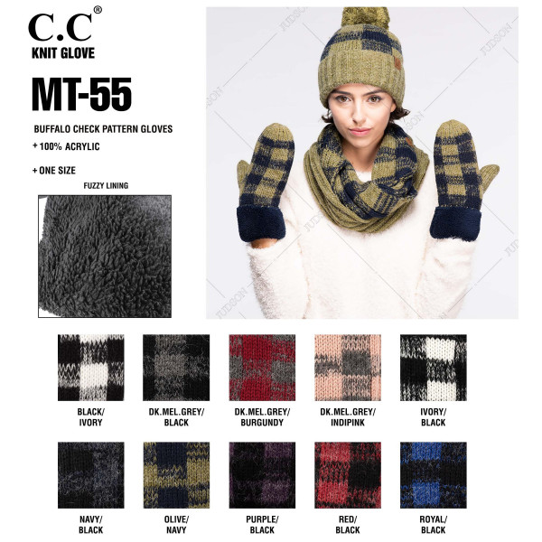 MT-55: Buffalo check C.C mittens with fuzzy lining.
