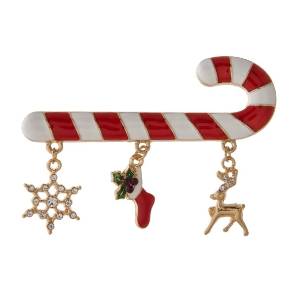 """Christmas pin with candy cane design. Approximately 2.5"""" in size."""