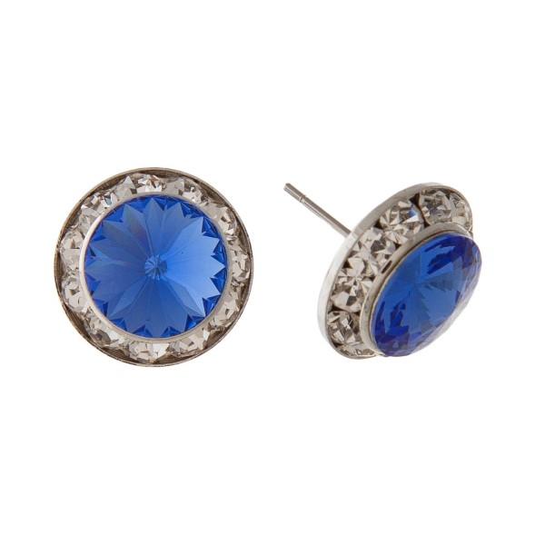 "Rhinestone stud earring. Approximately 1/2"" in diameter."