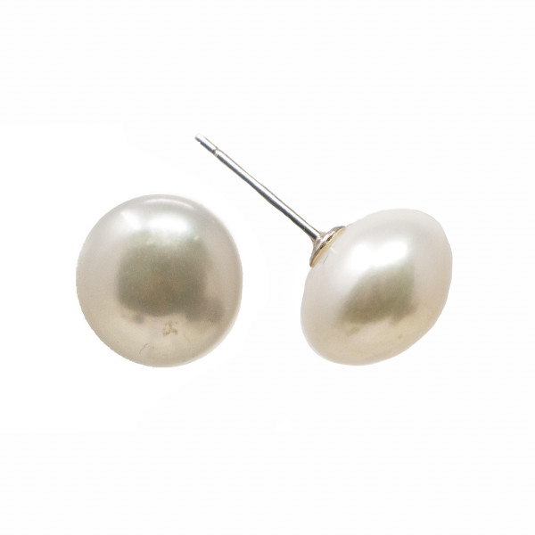 Pearl earring with sterling silver post. Approximately 10mm in size.