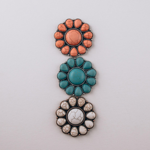 """Accessorize your phone grip with this metal natural stone decorative peel and stick charm. Approximately 1.5"""" in diameter. Fashion charms can also be used for the following:  - Laptops - Refrigerator Magnets - On DIY Home Projects - Car Dashboard - And anywhere you can Imagine"""
