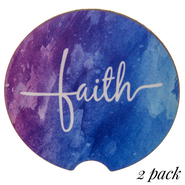 """Faith printed car coaster set.   - Pack Breakdown: 2pcs / pack - Approximately 2"""" in diameter - Finger slot for easy removal - Condensation absorbing cork"""