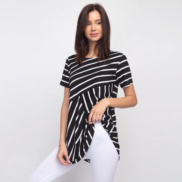 "Striped black and white short sleeve tunic top. Approximately 27"" in length.  - Pack Breakdown: 6pcs / pack  - Sizes: 2S / 2M / 2L  - Composition: 95% Rayon, 5% Spandex"