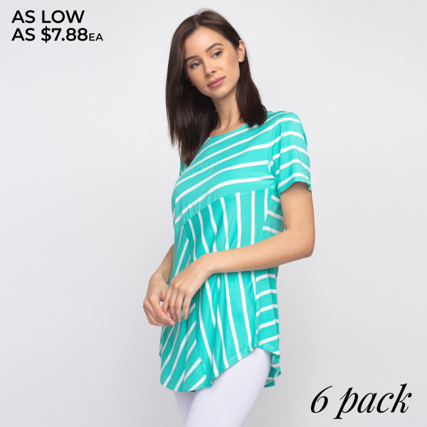 """Striped sea-foam green and white short sleeve tunic top. Approximately 27"""" in length.  - Pack Breakdown: 6pcs / pack  - Sizes: 2S / 2M / 2L  - Composition: 95% Rayon, 5% Spandex"""