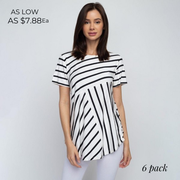 Striped white and black REGULAR SIZE short sleeve tunic top comes in 6 pack.  Pack Breakdown: 2S / 2M / 2L.  Composition: 95% Rayon 5% Spandex.