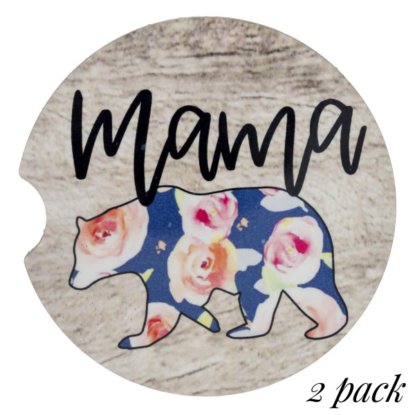 """Rustic floral """"Mama Bear"""" printed car coaster set.   - Pack Breakdown: 2pcs / pack - Approximately 2"""" in diameter - Finger slot for easy removal - Condensation absorbing cork"""