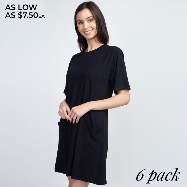 Solid color REGULAR SIZE half sleeve tunic dress with pockets.  Pack Breakdown: 6pcs / pack  Sizes: 2S / 2M / 2L  Composition: 95% Polyester, 5% Spandex
