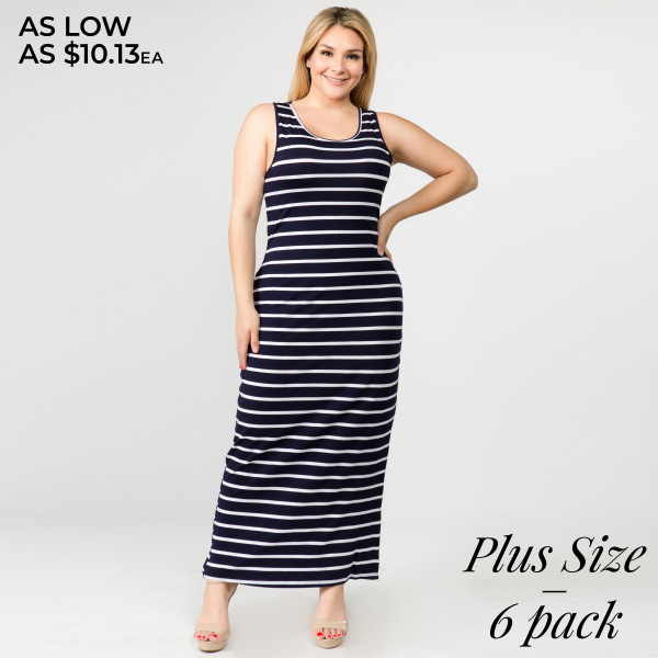 Striped PLUS size full-length sleeveless maxi dress ...