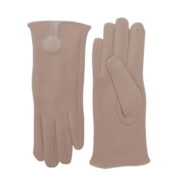 Solid soft touch screen gloves with rabbit pom pom.   - One size fits most - 60% Cotton, 40% Polyester