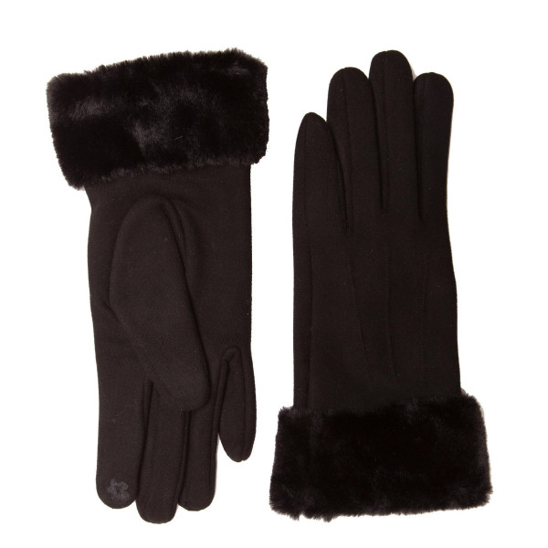 Solid faux fur touch screen gloves.  - One size fits most  - 100% Polyester