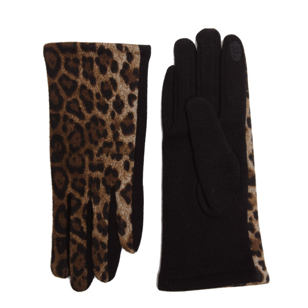 Leopard print touch screen gloves.  - One size fits most - 100% Polyester