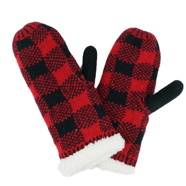 Buffalo check sherpa mittens.  - One size fits most - 65% Acrylic, 35% Wool