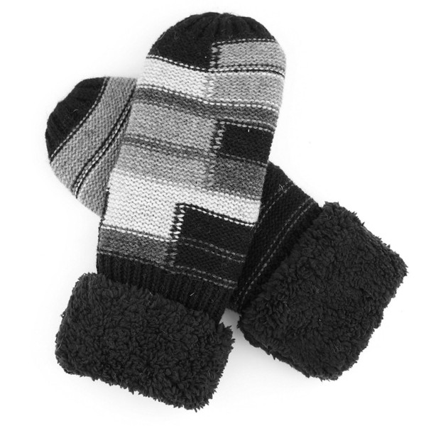 Color block sherpa fleeced mittens.   - One size fits most  - 65% Acrylic, 35% Wool