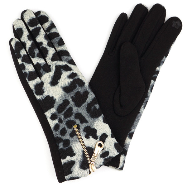 Leopard print smart touch gloves with zipper details.  - One size fits most - 70% Polyester, 30% Cotton