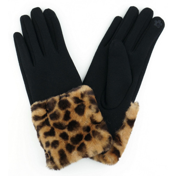 Faux fur leopard print cuff smart touch gloves.  - One size fits most - 70% Polyester, 30% Cotton