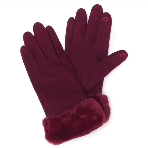 Faux fur trim touch screen gloves.  - One size fits most - 100% Polyester