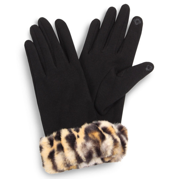 Faux fur leopard print cuff touch screen gloves.  - One size fits most - 100% Polyester
