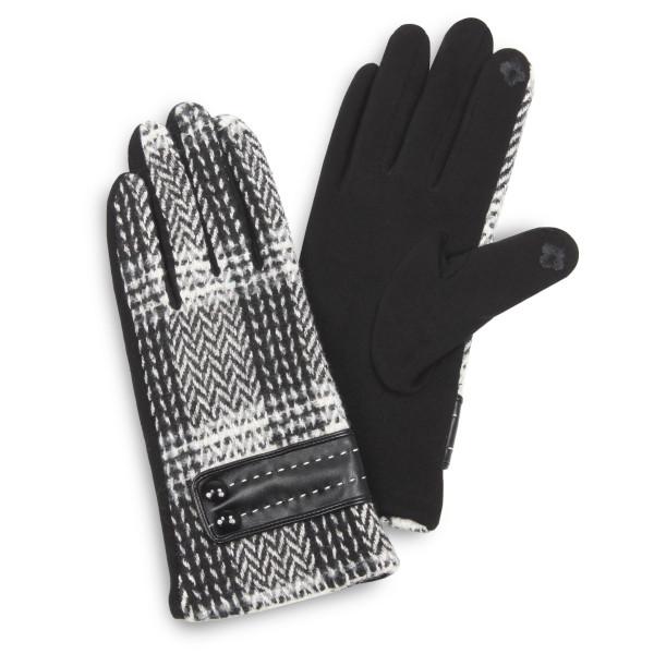 Herringbone woven touch screen gloves with button details.  - One size fits most - 100% Polyester