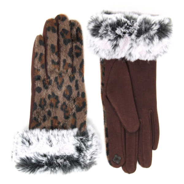 Leopard print faux fur cuff touch screen gloves.  - One size fits most - 60% Polyester, 40% Cotton