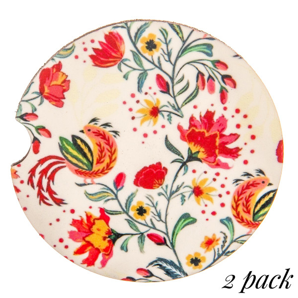 """Floral print car coaster. Approximately 2"""" in diameter.  - Pack Breakdown: 2pcs / 1 pack  - Condensation absorbing stoneware - Finger slot for easy removal"""