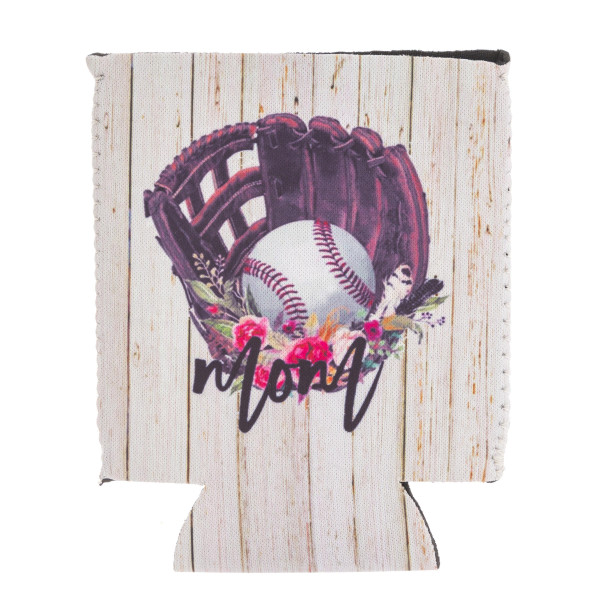 Insulated neoprene rustic floral baseball mom illustration coozie with side stitch details.  - Fits a standard 12 oz. can