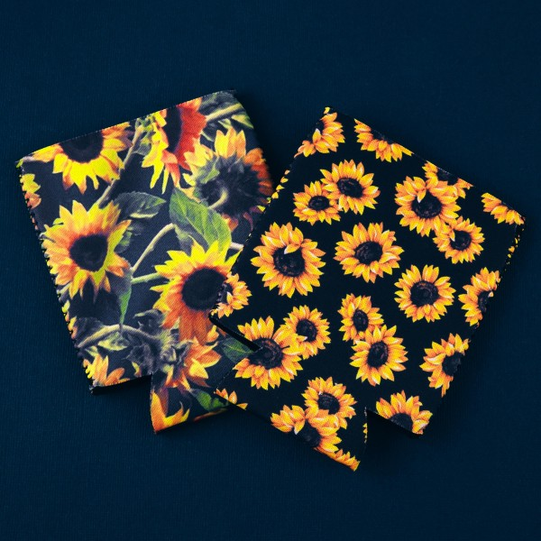 Insulated neoprene sunflower print coozie with side stitch details.  - Fits a standard 12 oz. can