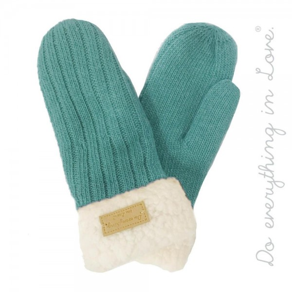 Wholesale do everything Love brand ribbed knit mittens sherpa lining One fits mo