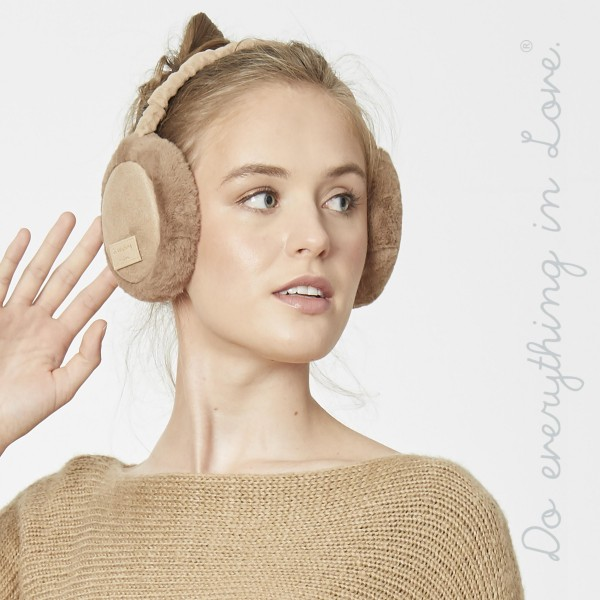 Do everything in Love brand faux fur lined faux suede earmuffs.  - One size fits most - 100% Polyester