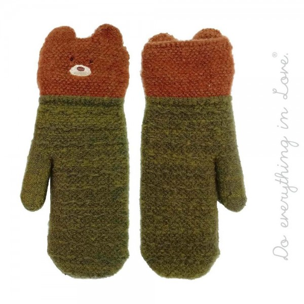 Wholesale do everything Love brand two bear cuff mittens One fits most Polyester