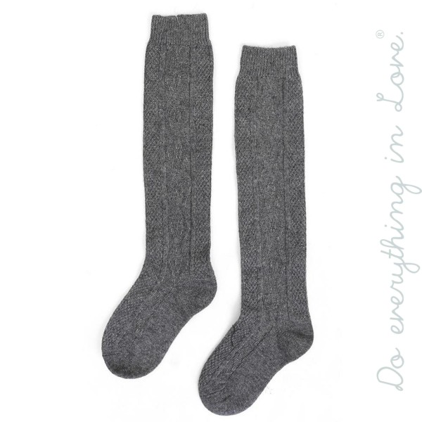 Wholesale do everything Love brand solid color knitted boot socks One fits most