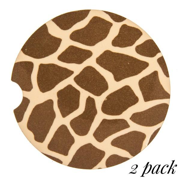 "Giraffe printed car coaster set.   - Pack Breakdown: 2pcs / pack - Approximately 2"" in diameter - Finger slot for easy removal - Condensation absorbing cork"