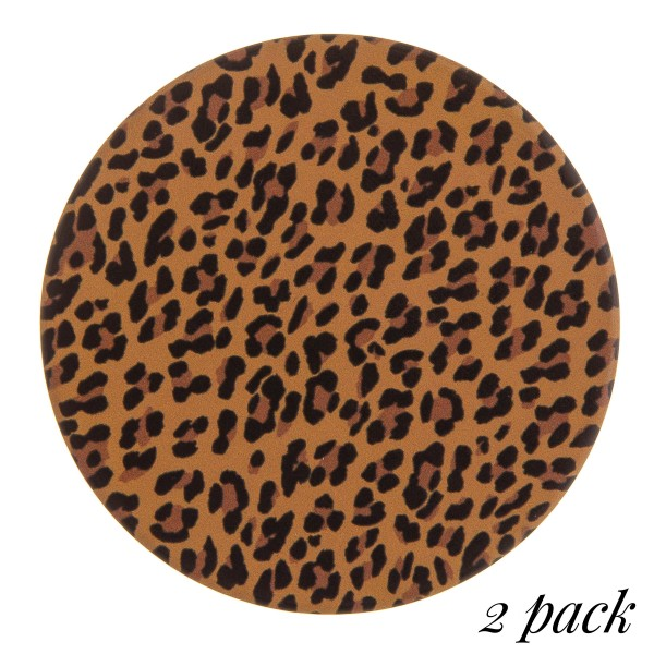 "Leopard print car coaster set.  - Pack Breakdown: 2pcs / pack - Approximately 2.5"" in diameter - Ceramic stoneware - Beveled edge for easy removal"