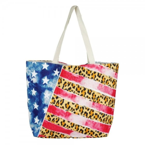 """Leopard print American flag beach bag.  - Button closure - One inside open pocket - Approximately 20.5"""" W x 16"""" T  - Strap length 12"""" - 60% Cotton, 40% Polyester"""