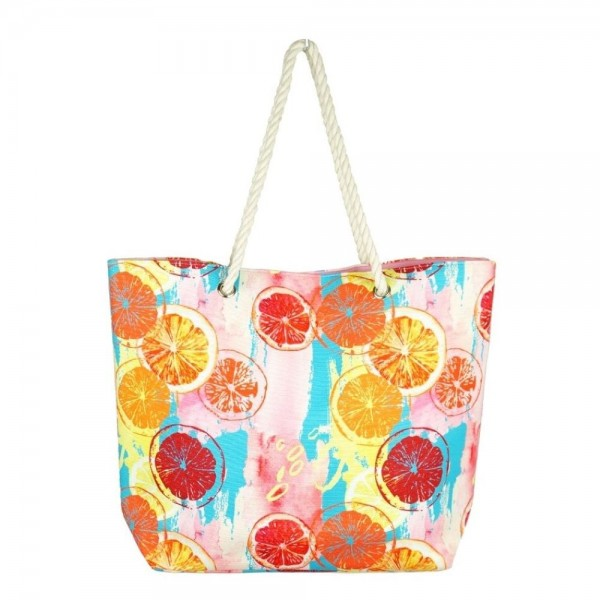 """Multicolor lemon squeeze canvas beach bag with rope strap details.  - Button closure - One inside open pocket - Approximately 20.5"""" W x 16"""" T  - Strap length 12"""" - 60% Cotton, 40% Polyester"""