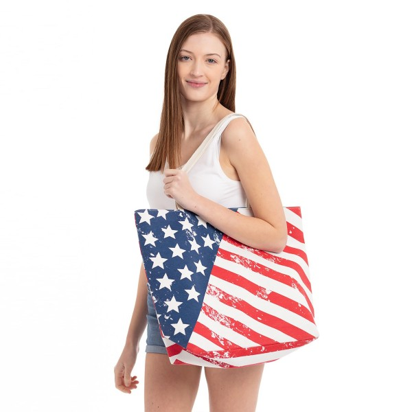 """Vintage distressed American flag beach bag.  - Button closure - One inside open pocket - Approximately 20.5"""" W x 16"""" T  - Strap length 12"""" - 60% Cotton, 40% Polyester"""