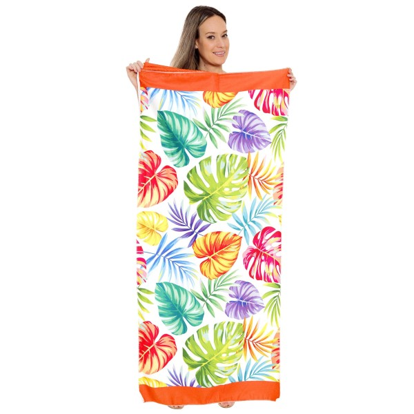 "Multicolor Palm Leaf Beach Towel Drawstring Bag All in One.  - Unfold your bag to use the soft beach towel - Conveniently folds back into a drawstring bag - Towel approximately 27"" W x 59"" L - 70% Cotton / 30% Polyester"